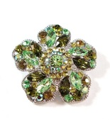 Flower Pin Brooch Olive Peridot Green Crystal Multicolor Silver Tone Metal - $29.99