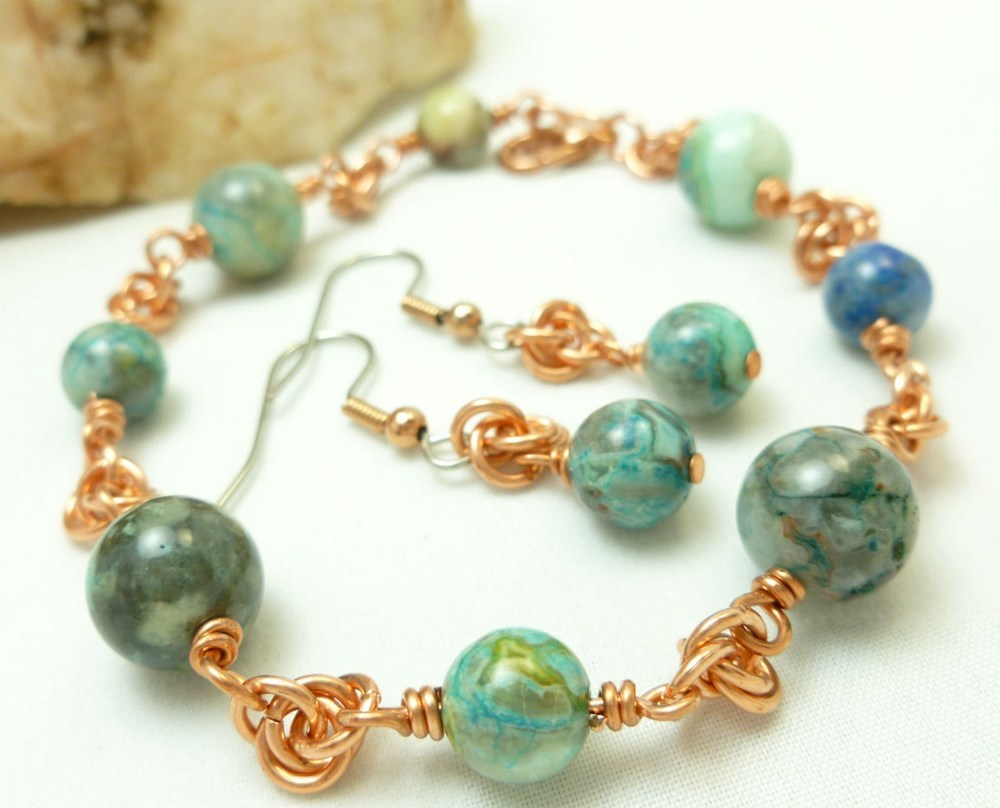 Blue crazy lace agate copper chainmaille beaded bracelet earrings d0317b47 1