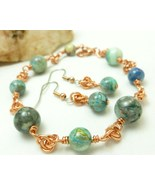 Blue crazy lace agate copper chainmaille beaded bracelet earrings d0317b47 1  thumbtall
