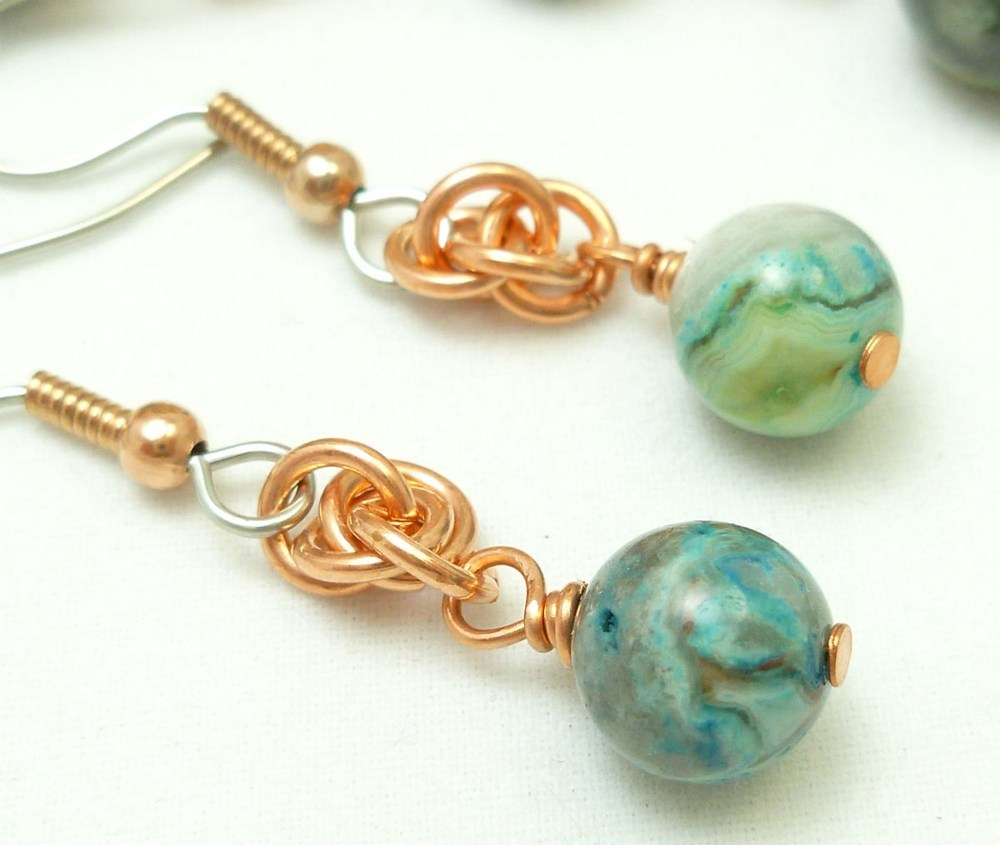 Blue crazy lace agate copper chainmaille beaded bracelet earrings 6058c98d 1