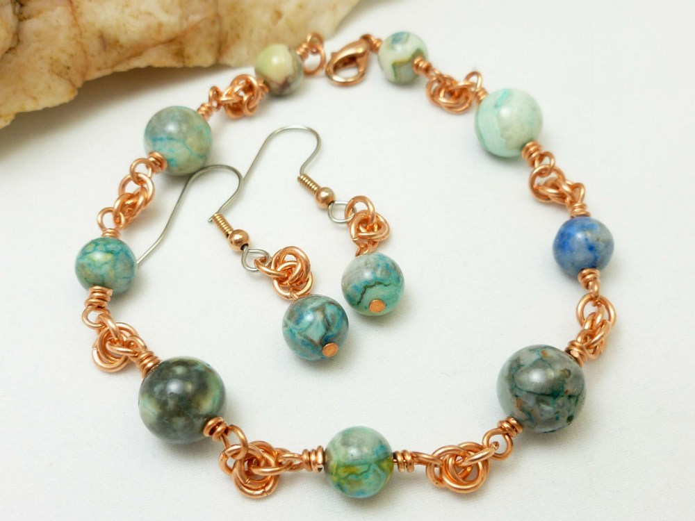 Blue crazy lace agate copper chainmaille beaded bracelet earrings b56ed345 1