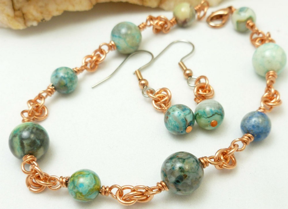 Blue crazy lace agate copper chainmaille beaded bracelet earrings d419683f 1