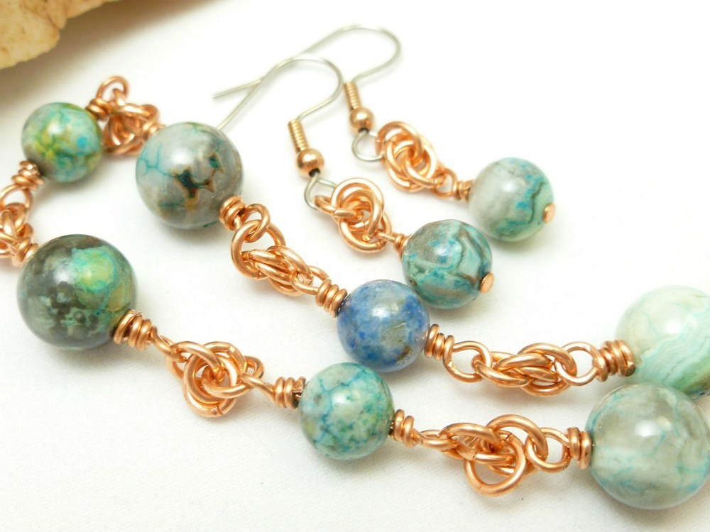 Blue crazy lace agate copper chainmaille beaded bracelet earrings baf43080 1