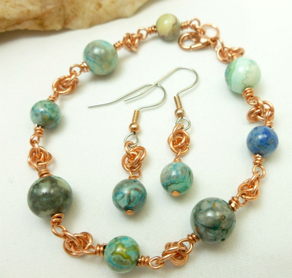 Blue crazy lace agate copper chainmaille beaded bracelet earrings 5f81d699 1