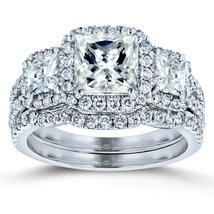 Princess Moissanite and Diamond Halo 3-Stone Bridal Rings Set 3 1/10 CTW... - £1,545.76 GBP