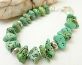 Kingman Green Blue Turquoise Nugget Sterling Silver Beaded Bracelet - $36.00