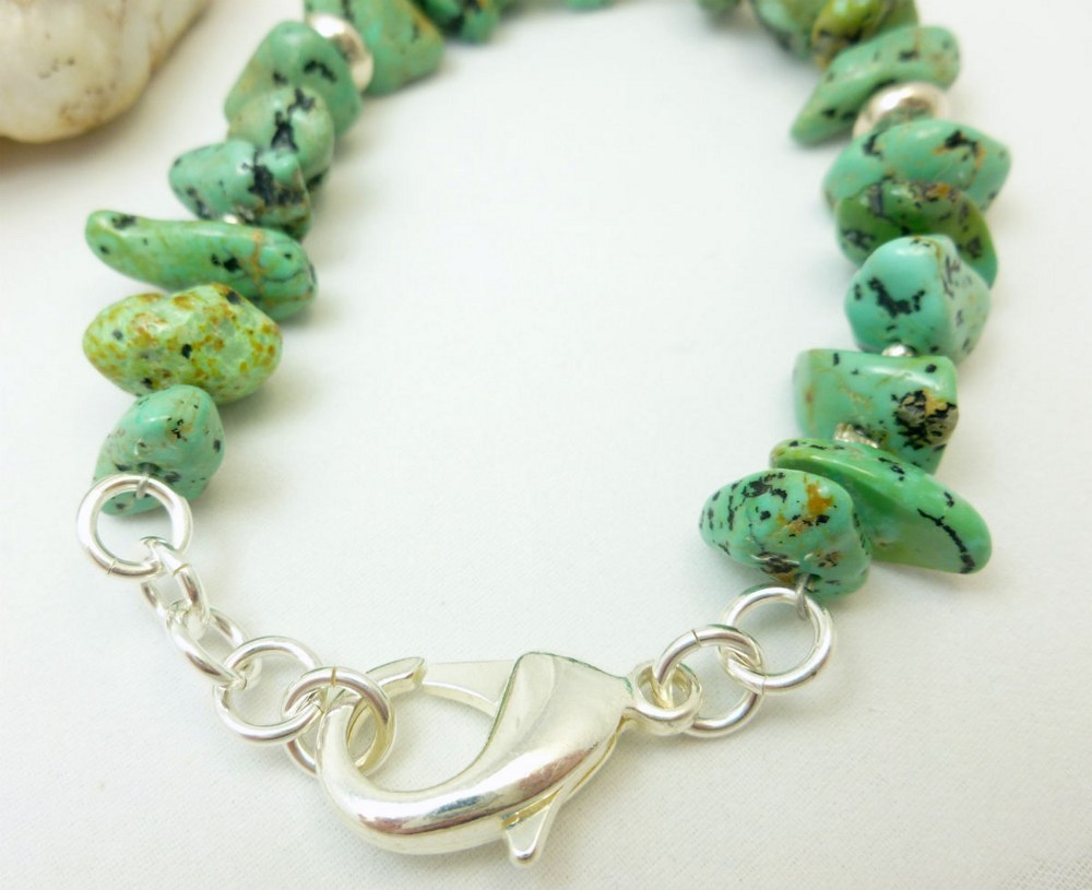 Kingman green blue turquoise nugget sterling silver beaded bracelet 9dcc18d1 1