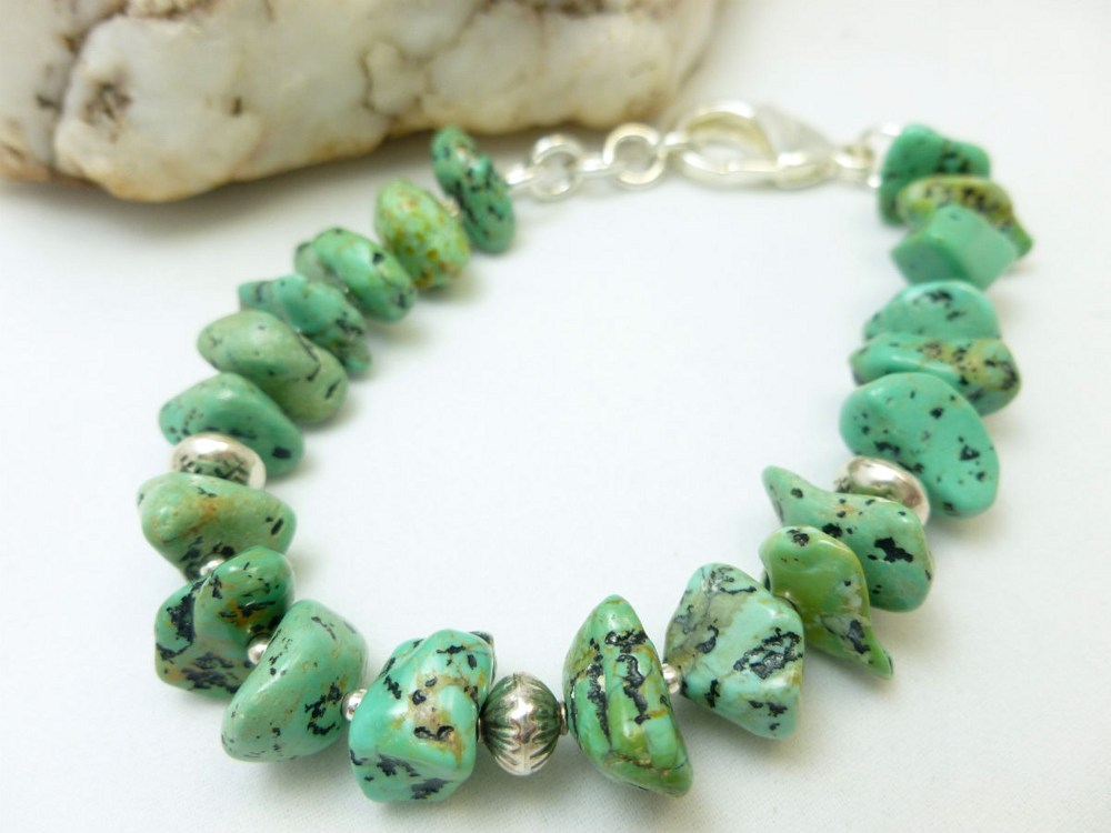 Kingman green blue turquoise nugget sterling silver beaded bracelet 44876497 1