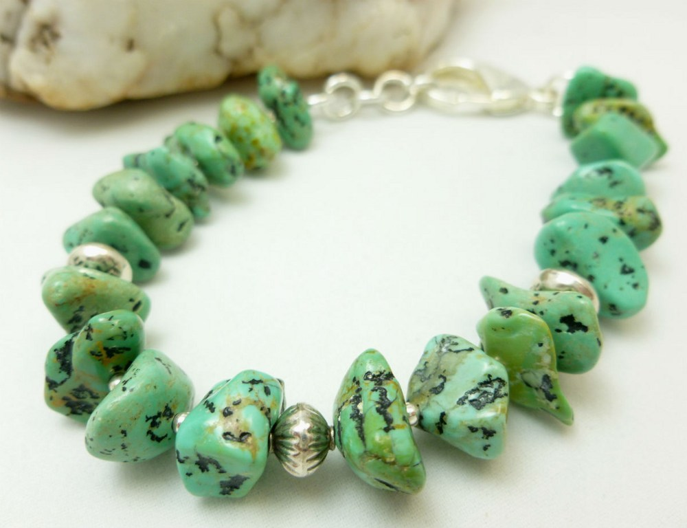 Kingman green blue turquoise nugget sterling silver beaded bracelet dfcf2c98 1
