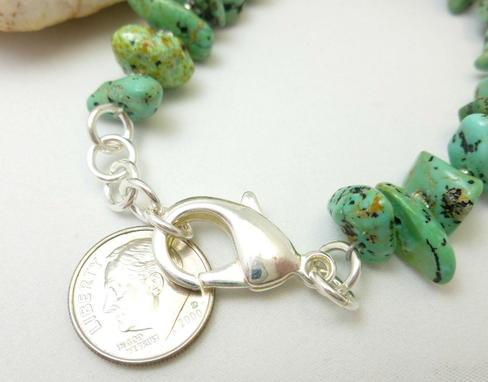 Kingman green blue turquoise nugget sterling silver beaded bracelet 196c0ef7 1