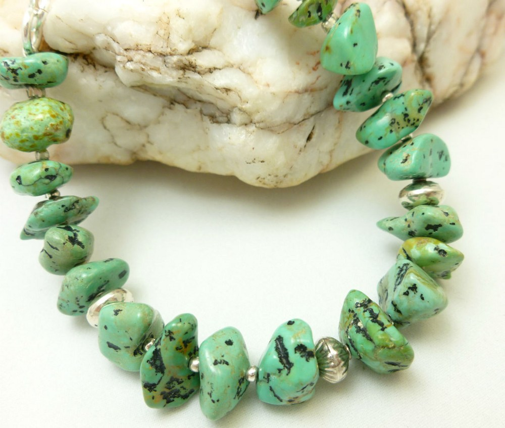 Kingman green blue turquoise nugget sterling silver beaded bracelet 19d23152 1