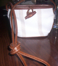 New Liz Clairbone Small  Purse Long Leather Strap White Summer Spring Cruise - $15.00