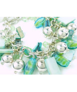 Blue Green Mother of Pearl Swarovski Crystal Silver Beaded Bracelet - $30.00