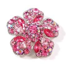 Flower Pin Brooch Pink Crystal Multicolor Silver Tone Metal - $29.99