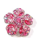 Flower Pin Brooch Pink Crystal Multicolor Silver Tone Metal - $29.99