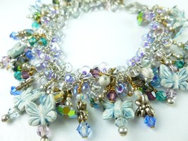 Butterfly and Dragonfly Crystal Sterling Charm Beaded Bracelet Small - $69.00