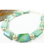 Turquoise Mother of Pearl White Beaded Ankle Br... - $20.00