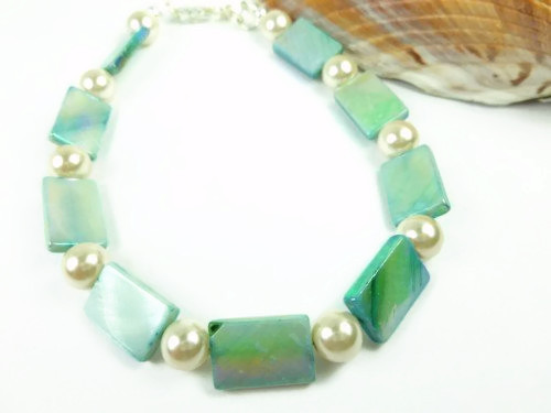 Turquoise mother of pearl and white ankle bracelet square round 9 inch ce9bb2b5 1