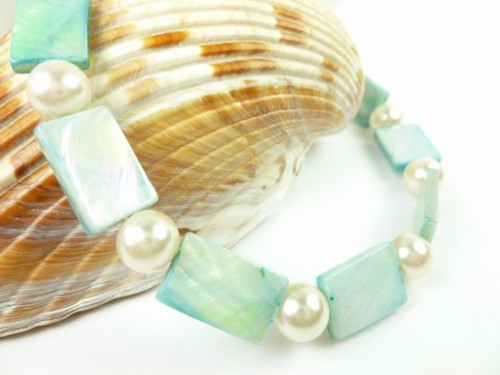 Turquoise mother of pearl and white ankle bracelet square round 9 inch 1c215dd0 1
