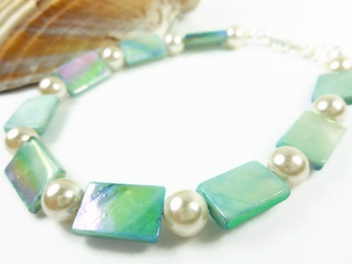 Turquoise mother of pearl and white ankle bracelet square round 9 inch 06599df2 1