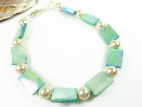 Turquoise mother of pearl and white ankle bracelet square round 9 inch f3f60586 1
