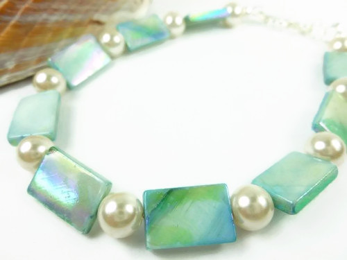 Turquoise mother of pearl and white ankle bracelet square round 9 inch 64f1ebdb 1