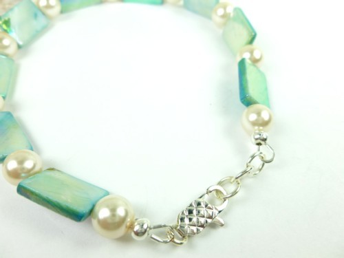 Turquoise mother of pearl and white ankle bracelet square round 9 inch 85f6dfcf 1