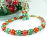Green chrysocolla red coral beaded christmas holiday bracelet earring 0314b766 1  thumb155 crop