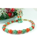 Green Chrysocolla and Red Beaded Christmas Holiday Jewelry Set - $20.00