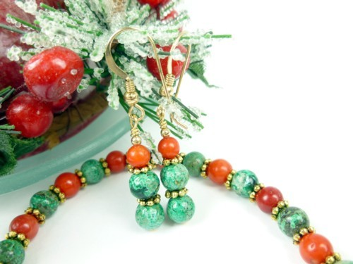 Green Chrysocolla and Red Beaded Christmas Holiday Jewelry Set