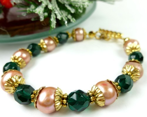 Green teal glass golden freshwater pearl bracelet small wrist holiday a349c0ca 1