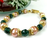 Green teal glass golden freshwater pearl bracelet small wrist holiday a349c0ca 1  thumb155 crop