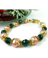 Green Teal Glass Golden Freshwater Pearl Bracel... - $20.00