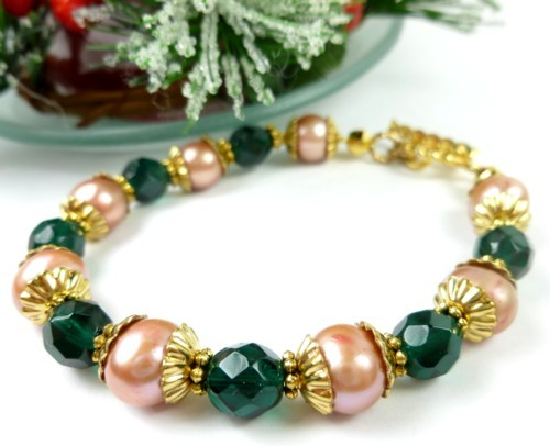 Green teal glass golden freshwater pearl bracelet small wrist holiday f5ed70fa 1