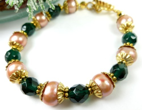 Green teal glass golden freshwater pearl bracelet small wrist holiday f367b0c2 1
