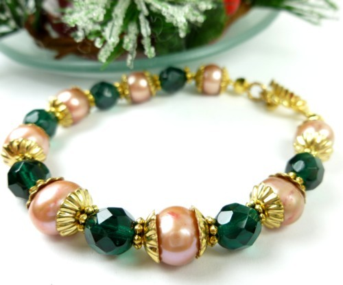Green teal glass golden freshwater pearl bracelet small wrist holiday 4dbb4f77 1