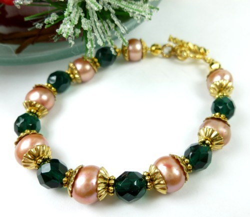 Green teal glass golden freshwater pearl bracelet small wrist holiday 182f0613 1