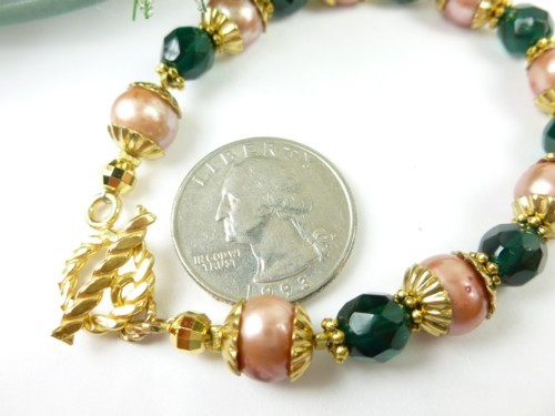 Green teal glass golden freshwater pearl bracelet small wrist holiday c10ac10f 1