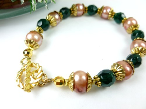 Green teal glass golden freshwater pearl bracelet small wrist holiday 509811e8 1