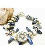 "Natural Howlite Sodalite Nugget Southwest Beaded Bracelet 7.5"" to 8"" - $35.00"