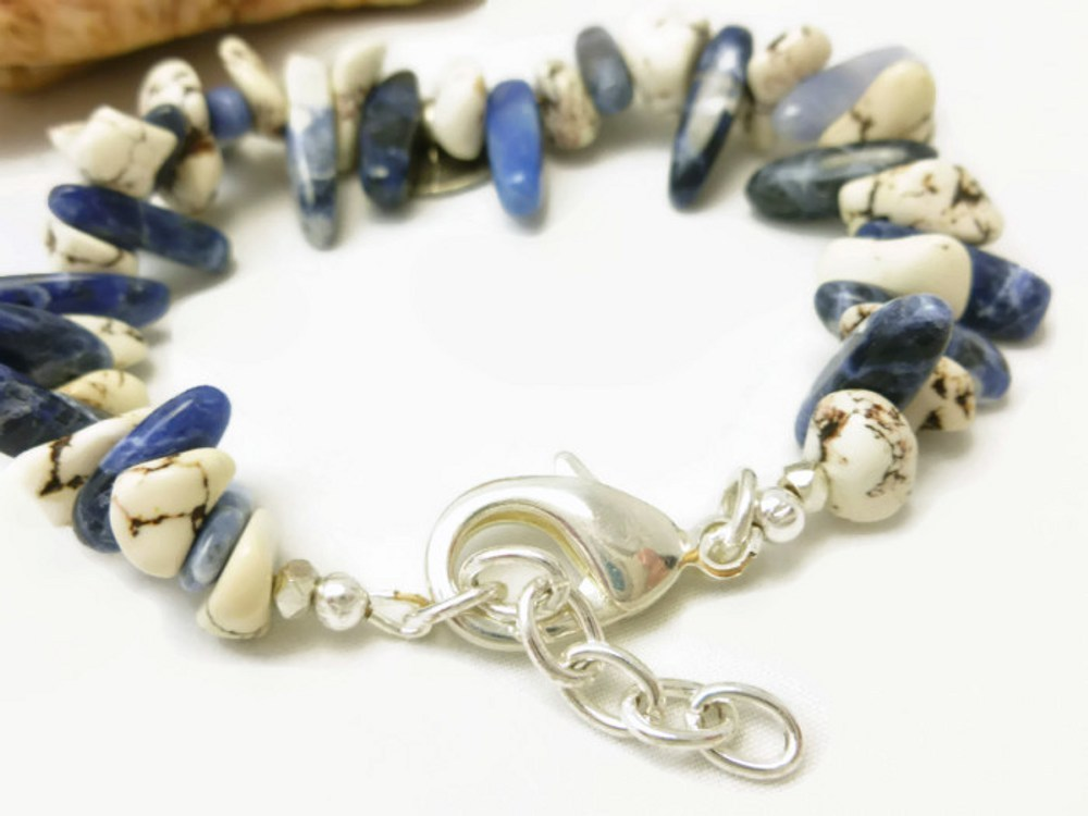 Natural howlite nugget southwest sterling beaded bracelet earring set 264c480f 1