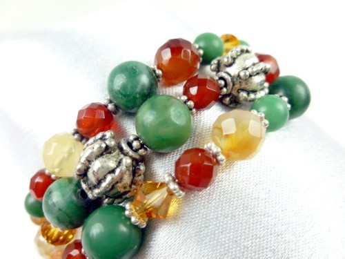 Jade_carnelian_orange_green_gemstone_sterling_beaded_coil_bracelet_babe2321_1_