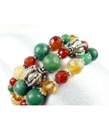 Jade Carnelian Orange Green Gemstone Sterling B... - $60.00
