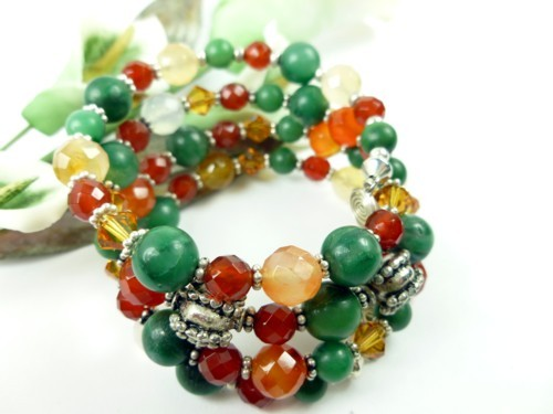 Jade_carnelian_orange_green_gemstone_sterling_beaded_coil_bracelet_8dc4a01d_1_