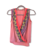 RENEE C Womens V-neck Wrap Sleeveless Pink Purple Blouse Top Size Small  - $27.72