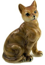 Vintage porcelain brown striped cat figurine Ja... - $12.00