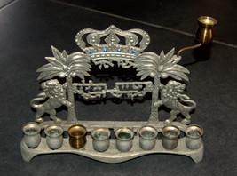 Judaica Hanukkah Menorah Lions Palm Trees Crown Israel Polish Style Vintage image 1