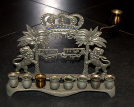 Judaica Hanukkah Menorah Lions Palm Trees Crown Israel Polish Style Vintage image 5