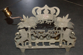 Judaica Hanukkah Menorah Lions Palm Trees Crown Israel Polish Style Vintage image 6