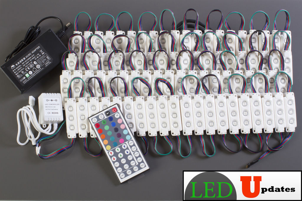 40ft RGB COLOR STORE FRONT LED LIGHT 5050 INSTALL KIT UL Power & WIRELESS REMOTE